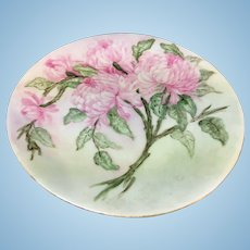 Delinieres company Limoges porcelain hand painted chrysanthemum plate