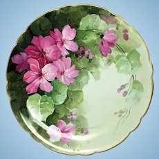 Antique Jean Pouyat Limoges 11.5 inch signed hand painted plate
