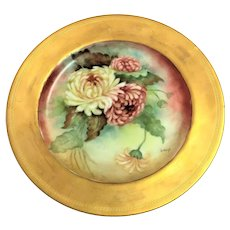 Antique Bawo & Dotter Elite Limoges signed Chrysanthemum plate 9.5 inch