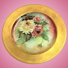 Antique Bawo & Dotter Elite Limoges signed Chrysanthemum plate 9.5 inch