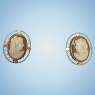 Vintage Sterling Silver and hand carved cameo screw on earrings