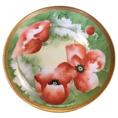Mavaleix Limoges Hand Painted small Red Poppies plate, artist signed