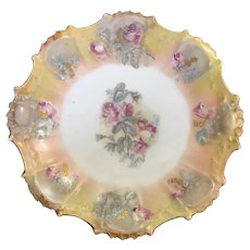 Antique Limoges Klingenberg and Dwenger hand painted rose plate