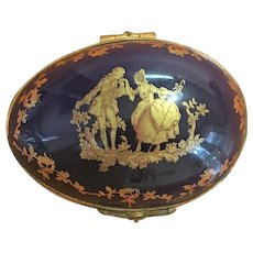 Vintage Limoges cobalt and gold gilt egg shaped trinket container