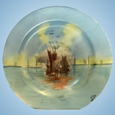 Limoges hand painted Sailing ships plate, artist signed