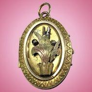 Victorian Aesthetic movement flower basket locket