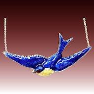 Vintage sterling enamel blue bird of happiness necklace