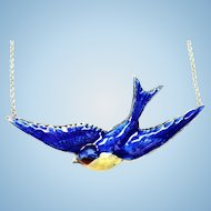 Vintage sterling enamel blue bird of happiness necklace
