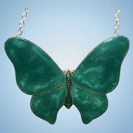 Vintage sterling silver green butterfly necklace