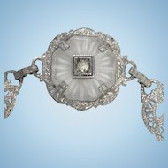 Vintage sterling silver rock crystal filigree bracelet