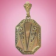 Vintage hand engraved octogon rolled gold locket