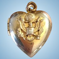 Vintage Army sweetheart locket gold plated