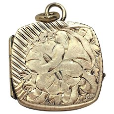 Victorian rolled gold hand engraved square locket