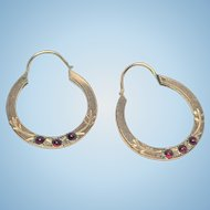 Victorian rolled gold garnet hoops with hand engraving