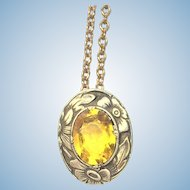 Vintage yellow rolled gold yellow stone pendant on chain