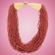 Vintage 40 strand natural scarlet coral torsade