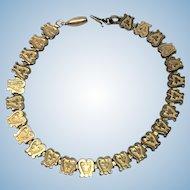 Vintage Victorian book chain 14 kt rolled gold bracelet