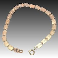 Vintage rose rolled gold book chain bracelet