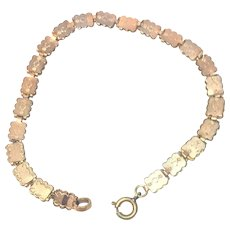 Vintage rose rolled gold book chain bracelet