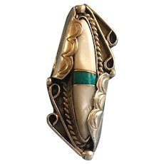 Vintage Mother of pearl and Turquoise sterling ring