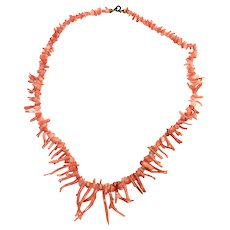 Vintage pink salmon natural branch coral necklace