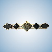 Victorian rolled rose gold,onyx and seed pearl brooch