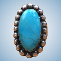 Vintage natural Turquoise and Sterling silver ring by P. Livingstone