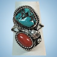 Vintage Sterling silver Turquoise and red coral ring