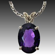 Sterling silver and oval amethyst necklace