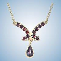 Vintage Garnet gold filled necklace