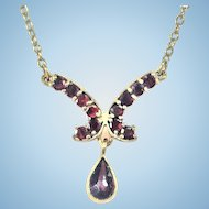 Vintage Garnet gold filled necklace