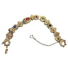 Vintage Goldette style slide charm bracelet
