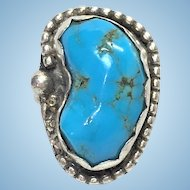 Vintage Sterling Silver Bisbee Turquoise Native American made ring