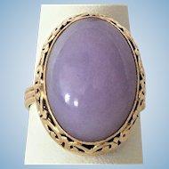 Vintage Lavender Jadeite jade 14 kt gold ring from Ming's