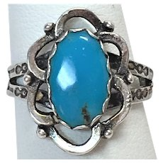 Vintage Bisbee turquoise sterling silver ring