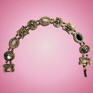 """Vintage """"Goldette """" style costume slide bracelet"""