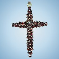 Vintage Bohemian garnet cross on a sterling silver chain