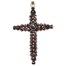 Vintage Bohemian garnet cross on a sterling silver chain