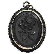 Victorian Gutta Percha locket of a rose