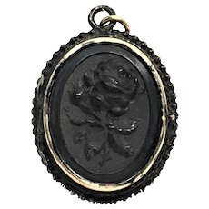Victorian Gutta Percha locket of a rose