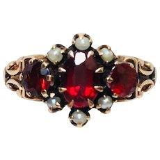 Victorian 14 kt rose gold garnet and seed pearl ring