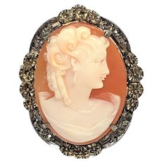 Vintage natural cameo pendant/pin of sterling silver with marcasites