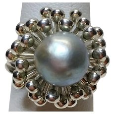 Vintage sterling silver Beau akoya cultured pearl ring