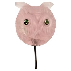 Victorian rose quartz owl with demantoid garnet eyes 14 kt gold stick pin.