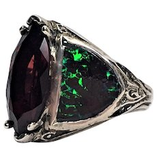 Garnet and boulder opal sterling ring custom made