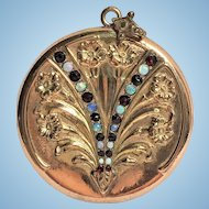 Vintage W & SB Co rose gold plated locket with opals and garnets