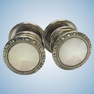 "Art Deco mother of pearl ""Correct Link"" snap cuff links"