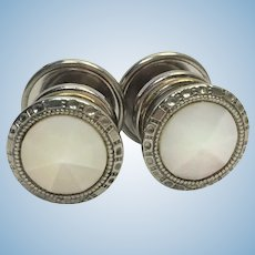 """Art Deco mother of pearl """"Correct Link"""" snap cuff links"""