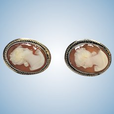 Vintage hand carved shell cameo earrings in silver