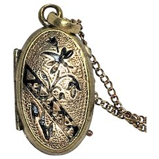 Vintage Victorian style rolled gold and black enamel locket